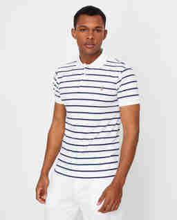 Biała koszulka polo w paski Slim Fit
