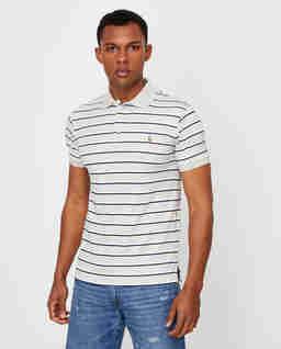Szara koszulka w paski Slim Fit