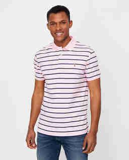 Różowa koszulka polo w paski Slim Fit