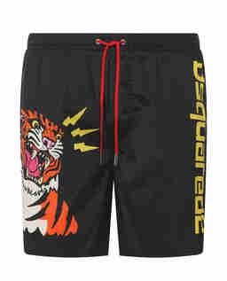 Czarne spodenki kąpielowe z tygrysem