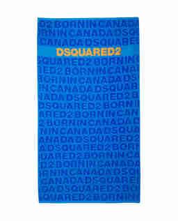 Niebieski ręcznik plażowy z logo