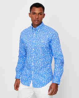 Niebieska koszula we wzór Slim Fit