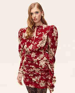 Bordowa sukienka w kwiaty