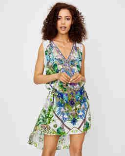 Hedvábné mini šaty s rostlinným vzorem