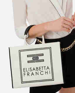 Biała płócienna torba shopper z logo