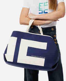 Granatowa płócienna torebka shopper z logo