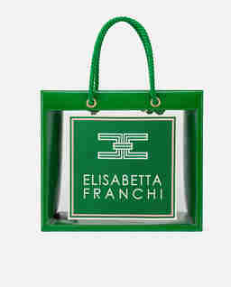 Zielona transparentna torba shopper