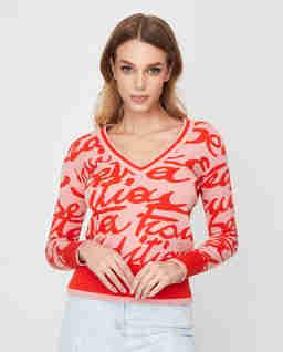 Różowy sweter  z nadrukiem