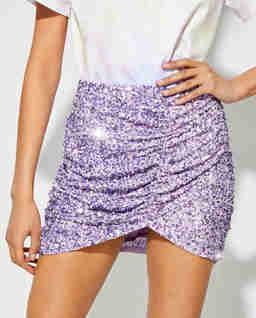 Liliowa spódnica z cekinami