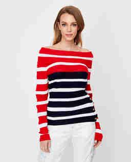 Dwukolorowy sweter w pasy