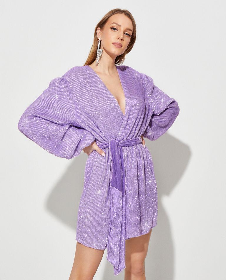 Liliowa sukienka z cekinami Gabrielle Retrofete