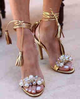 Złote sandały na szpilce Bubblicious
