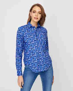 Niebieska koszula w kwiaty Relaxed Fit