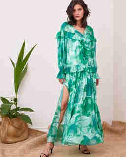 Jedwabna sukienka z rozporkami i falbanami Irri