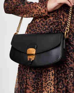 Černá kožená mini kabelka