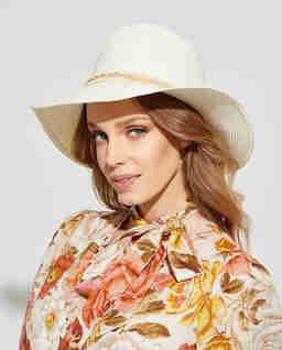 Beżowy kapelusz Fedora