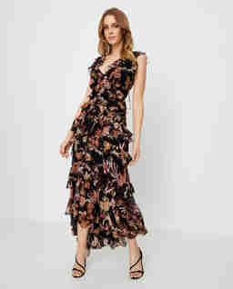 Jedwabna czarna sukienka w kwiaty