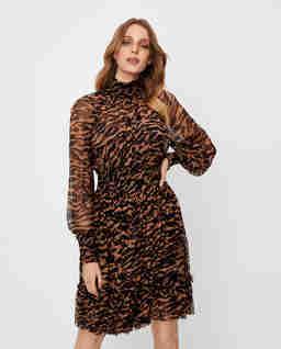 Jedwabna sukienka w zwierzęcy wzór