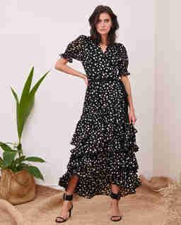 Czarna sukienka w groszki Bilbao