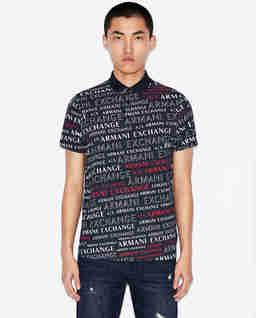 Granatowa koszulka polo z nadrukami