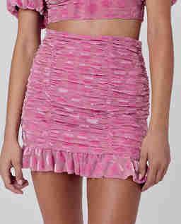 Różowa welurowa spódnica Lusk
