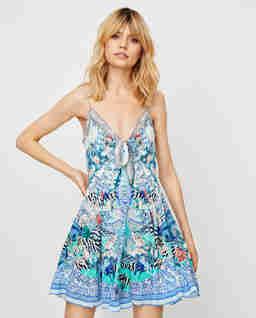 Jedwabna sukienka mini z wiązaniem