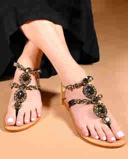 Czarne sandały z kryształami Waialua