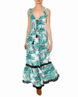 Biała sukienka w liście palmowe Hailey
