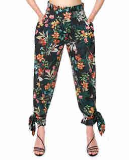 Czarne spodnie w kwiaty Rafaela Paradise