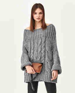 Szary sweter z wełny Tana