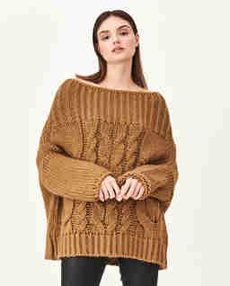 Brązowy sweter z wełny Tana