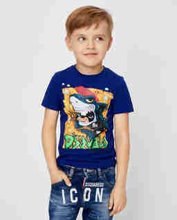 Granatowa koszulka z rekinem 4-10 lat
