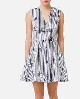 Rozkloszowana sukienka z printem marynarskim