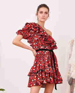 Kwiecista sukienka mini z falbanami MALAGA