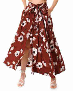 Brązowa spódnica w kwiaty Gabriella