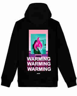 Czarna bluza z kapturem WARMING