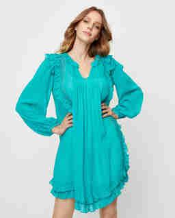 Niebieska sukienka mini z falbankami