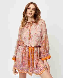 Jedwabna sukienka mini we wzory