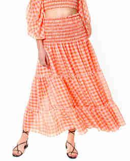 Pomarańczowa spódnica w kratkę Lola