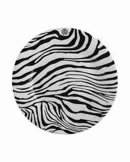 Porcelanowy talerz deserowy w zebrę