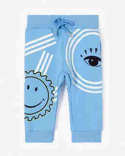 Niebieskie spodnie dresowe z logo 0-4 lat
