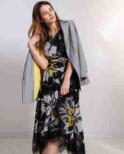 Szyfonowa sukienka  z koronką