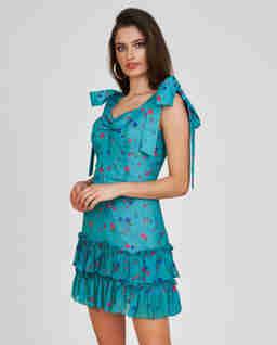 Miętowa sukienka z falbanami Lola