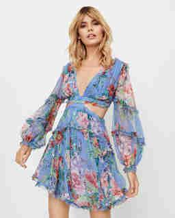 Niebieska sukienka z wycięciami Bellitude