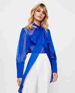 Niebieska bluzka z jedwabiu Fiore
