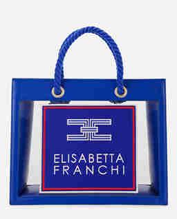 Granatowa transparentna torebka z logo