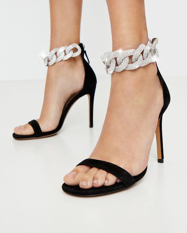 Czarne sandały Elsa z kryształami Swarovskiego Alexandre Vauthier