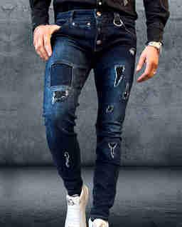 Granatowe jeansy z dziurami Furious