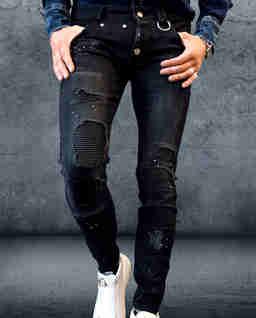 Czarne jeansy z łatami Hooligan