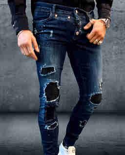 Niebieskie jeansy z łatami Hooligan